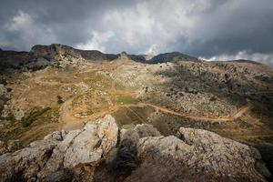 View of Greek mountains in Crete. photo