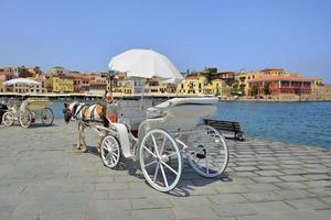 Pequeño puerto Chania de la isla de Creta en Grecia foto