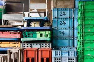 Plastic container pile