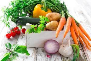 Fresh vegetables like potatoes, carrots, onions & garlic  photo