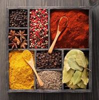 spices in box pink and black pepper, paprika powder, curry