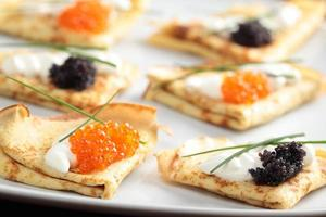 Crepes with caviar photo