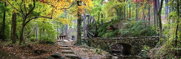 Fall grist mill enchanted scene