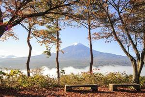 Image of the sacred mountain of Fuji in the background photo