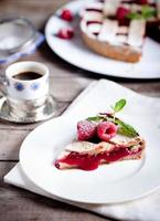 Linzer tart torte with fresh raspberry photo