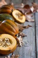 Decorative pumpkins background photo
