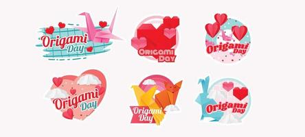 Origami Day Festival with Cheerful Stickers vector