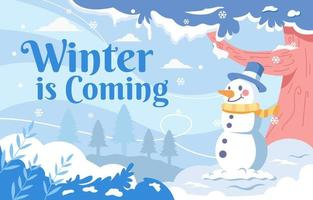 Snowman in Cold Winter Weather Background vector