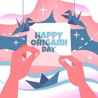 origami hecho a mano para la ilustración del día del origami vector