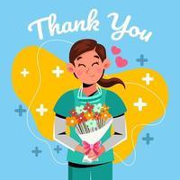ramo de flores para el personal sanitario vector