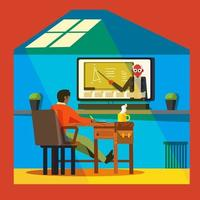 divertida clase online con un profesor en casa vector