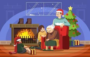 Quality Time With Grandma on Christmas vector