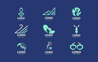 paquete de logotipos planos para una moda elegante vector