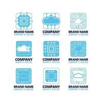 colección de diseño de logotipos de tecnología vector