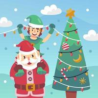 Santa Clause and Pete Decorating Christmas Tree