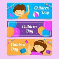 banner colorido y lindo del día del niño vector