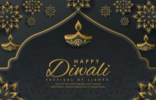 Fondo de diwali de flores de velas de color gris oscuro y amarillo vector