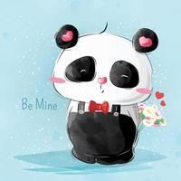 Cute Little Panda Valentine Design