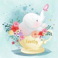 pequeño elefante sentado en una taza de té vector