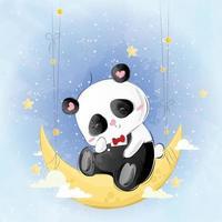 Cute Little Panda Sitting on Moon vector