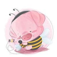 Cute Piggy Hugging Little Bee vector