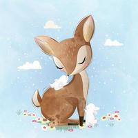Cute Deer and the Little Bunnies