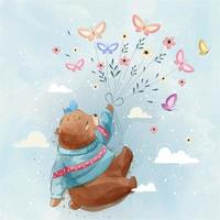 Little Bear Flying With Butterflies