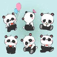 pequeño panda dibujado a mano