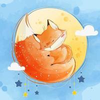 Little Fox Sleeping on His Own Tail on Moon