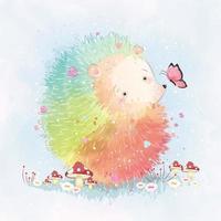 Cute Hedgehog in Rainbow Colors
