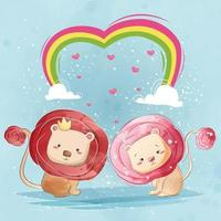 Rose-Haired Lion Couple Under Rainbow