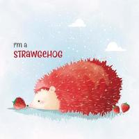 Cute Hedgehog in Strawberry Color