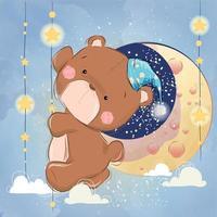 Cute Bear Going To Sleep on Strings of Stars vector
