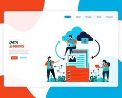 Data sharing landing page vector