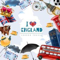 England travel icons frame vector