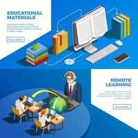 Online education isometric banner set vector