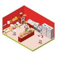 Isometric pizza shop interior vector