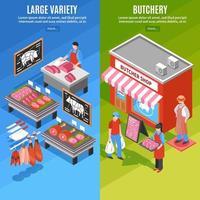 Isometric butcher shop vertical banner set vector