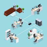 red de oficina isométrica