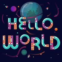 Cute cartoon space themed lettering