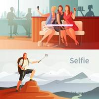 People taking selfies banner set