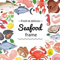 Cute seafood background frame vector