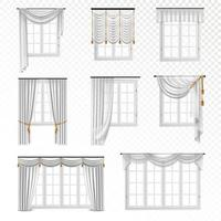 Set of realistic windows with white curtains vector