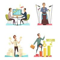 Business cartoon icon set vector