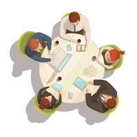 Business meeting cartoon top view