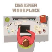 vista superior del espacio de trabajo del diseñador vector