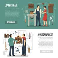 Leather manufacturing template banner set vector