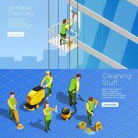 Isometric cleaning services template banner set