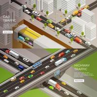 Isometric urbanscape template banner set