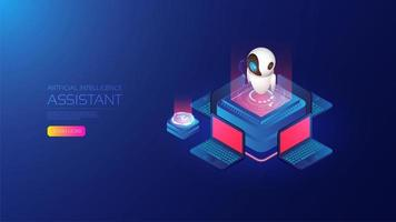 Isometric artificial intelligence landing page concept